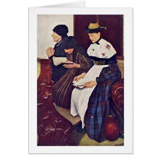 Les trois femmes dans l'église par Wilhelm Leibl Carte De Vœux