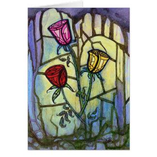 Les trois roses masquent la carte de voeux