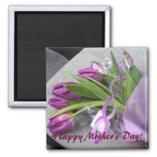 Les tulipes de la maman - personnalisables aimant pour réfrigérateur