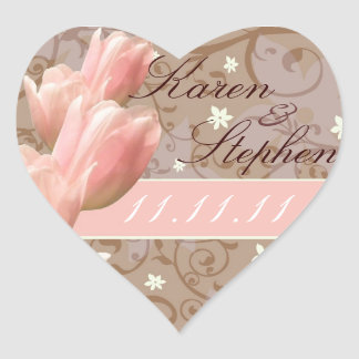 les tulipes roses font gagner la date sticker cœur