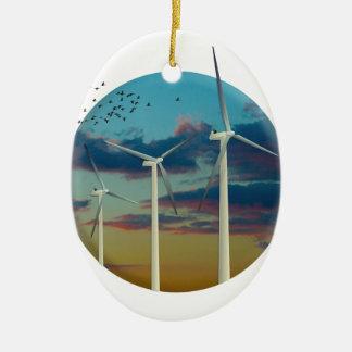 Les turbines de vent ont peint le ciel ornement ovale en céramique