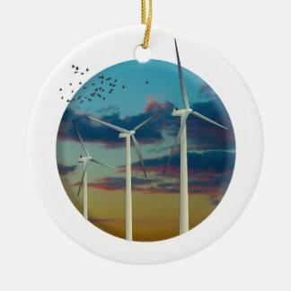 Les turbines de vent ont peint le ciel ornement rond en céramique