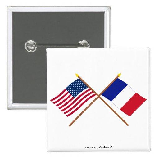 Les USA et drapeaux croisés par France Pin's
