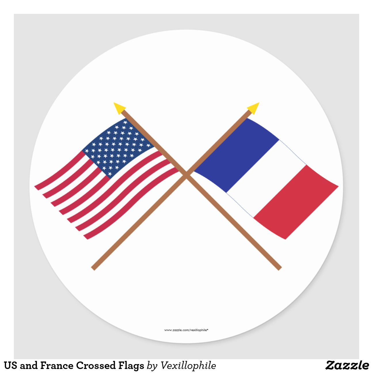 les usa et drapeaux crois s par france sticker rond zazzle. Black Bedroom Furniture Sets. Home Design Ideas
