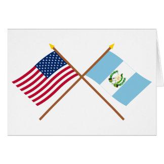 Les USA et drapeaux croisés par Guatemala Carte De Vœux