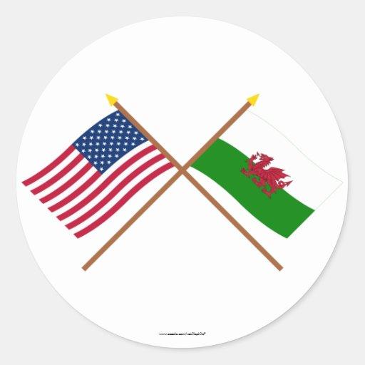 Les USA et drapeaux croisés par Pays de Galles Adhésifs Ronds