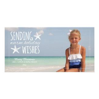 Les vacances chaudes souhaitent à la salutation photocarte personnalisée