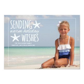 Les vacances chaudes souhaitent la salutation de carton d'invitation  12,7 cm x 17,78 cm