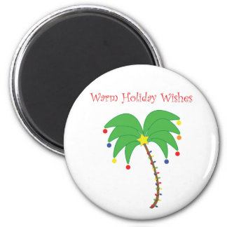"""""""Les vacances chaudes souhaitent"""" l'aimant de palm Magnet Rond 8 Cm"""