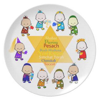 Les vacances juives badinent le plat de célébratio assiette