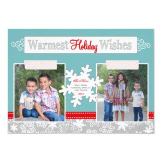 Les vacances les plus chaudes souhaitent le bleu carton d'invitation  12,7 cm x 17,78 cm