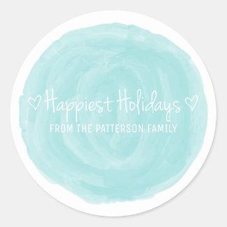 Les vacances les plus heureuses d'aquarelle de sticker rond