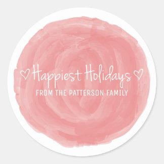 Les vacances les plus heureuses d'aquarelle rouge sticker rond