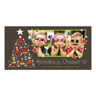 Les vacances mignonnes d'enfants d'arbre de Noël Photocartes