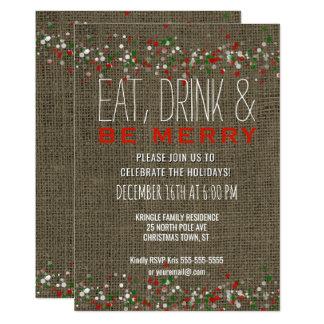 Les vacances rustiques de Noël de toile de jute Carton D'invitation 12,7 Cm X 17,78 Cm