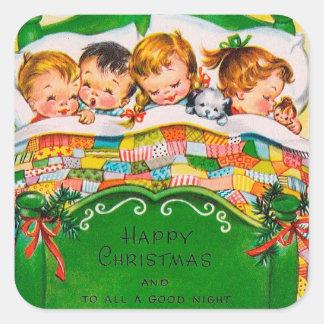 Les vacances vintages de Noël badinent Sticker Carré