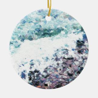 Les vagues enroulent au rivage - peinture - cadeau ornement rond en céramique