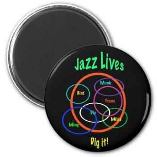 Les vies de jazz magnet rond 8 cm