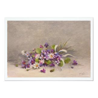 Les violettes & ruban de soie bleu ✿ Atelier Flont Carton D'invitation 12,7 Cm X 17,78 Cm