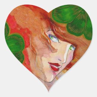 Les yeux irlandais d'autocollant enchantent le sticker cœur