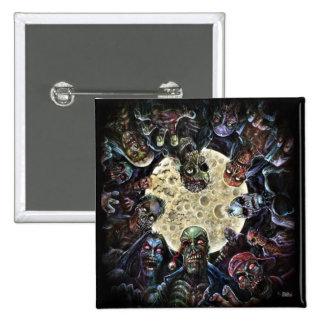 Les zombis attaquent (l'horde de zombi) badge carré 5 cm