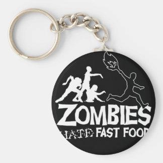 Les zombis détestent les aliments de préparation porte-clé rond
