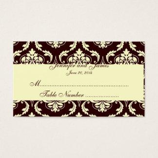 L'escorte de Tableau de mariage carde la damassé Cartes De Visite