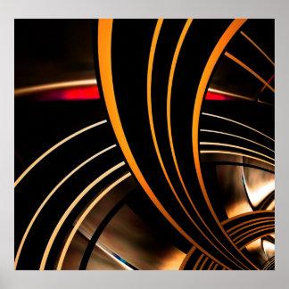 L'espace 2 d'or d'art abstrait d'affiche posters
