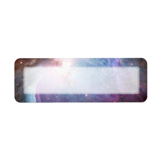 L'espace de pourpre de nébuleuse d'Orion Étiquette D'adresse Retour