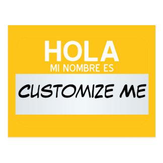 L'Espagnol bonjour mon nom est… personnalisable Carte Postale