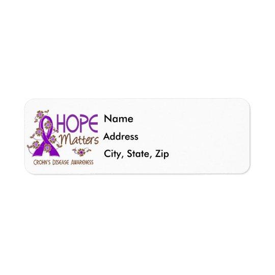 L'espoir importe la maladie de Crohn 3 Étiquette D'adresse Retour