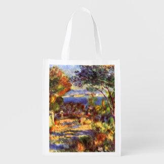 L'Estaque par Renoir, art vintage d'impressionisme Sacs D'épicerie