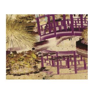 """L'étang de lis et jettent un pont sur 10"""" x 8"""" impression sur bois"""