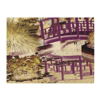 """L'étang de lis et jettent un pont sur 24"""" x 18"""" impression sur bois"""