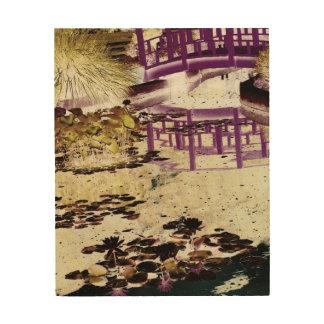 """L'étang de lis et jettent un pont sur 8"""" x 10"""" impression sur bois"""