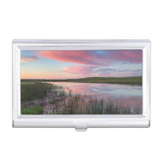 L'étang de prairie reflète les nuages brillants de boîtier pour cartes de visite