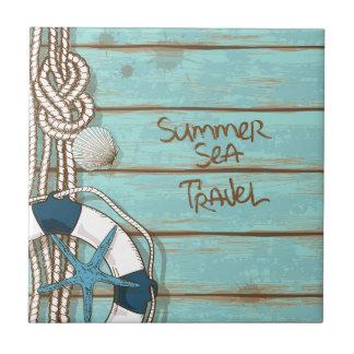 L'été, mer, voyagent conception nautique carreau