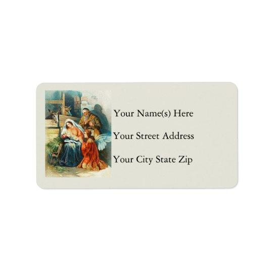 L'étiquette de adresse de cru de nativité étiquettes d'adresse