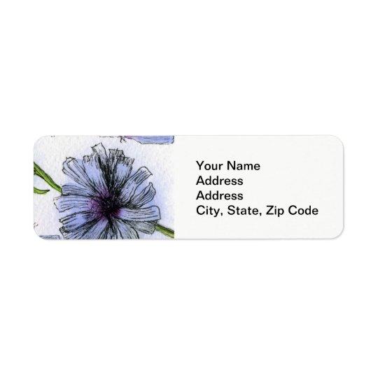 L'étiquette de adresse de retour de fleur, rayent étiquette d'adresse retour
