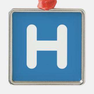 Letter H Emoji Twitter Ornement Carré Argenté