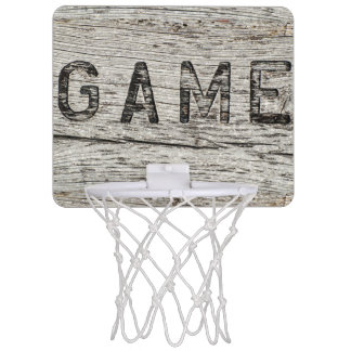 Lettrage du bois rustique de jeu d'effet mini-panier de basket