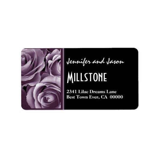 Lettrage moderne de roses pourpres élégants de étiquette d'adresse
