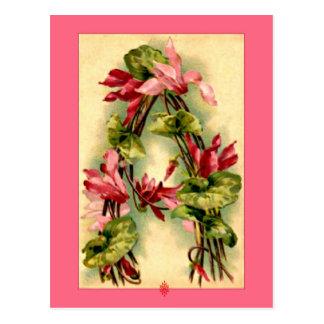 Lettre A d'alphabet de fleur de Catherine Klein Carte Postale