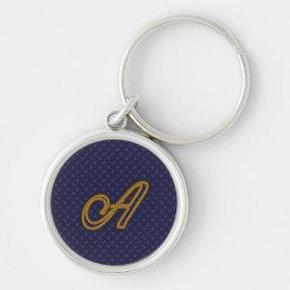Lettre A de monogramme de style de corde Porte-clé