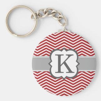 Lettre blanche rouge K Chevron de monogramme Porte-clé Rond
