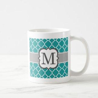 Lettre bleue turquoise M Quatrefoil de monogramme Mug
