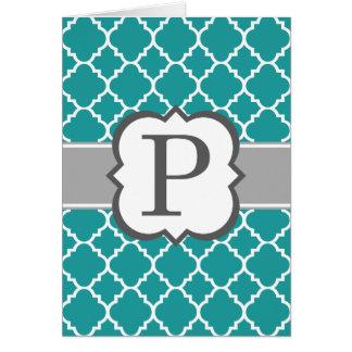 Lettre bleue turquoise P Quatrefoil de monogramme Carte De Vœux