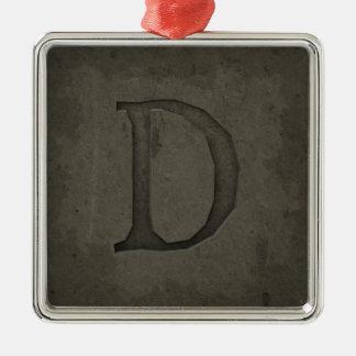 Lettre concrète D de monogramme Ornement Carré Argenté