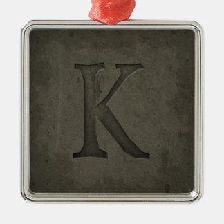 Lettre concrète K de monogramme Ornement Carré Argenté