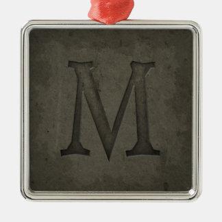 Lettre concrète M de monogramme Ornement Carré Argenté